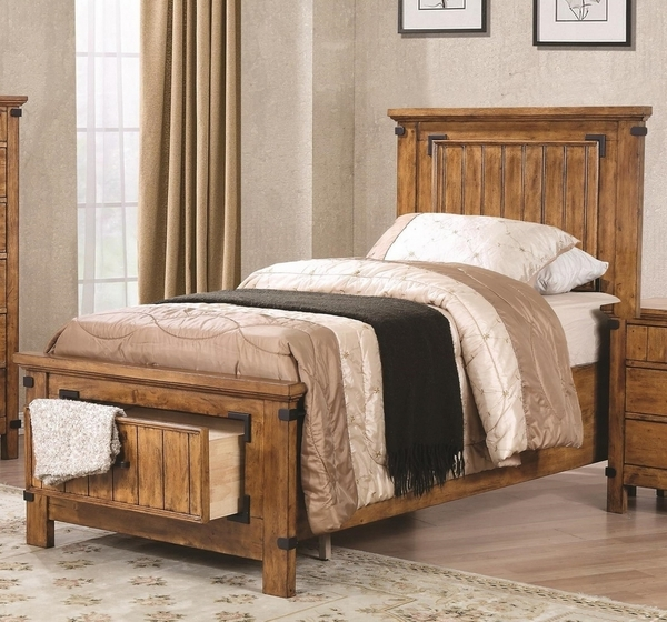 Brenner Rustic Honey Asian Hardwood Youth Twin Storage Bed by Coaster