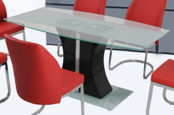 Adeline Clear Glass/Black Dining Table by Casa Blanca Furnishings