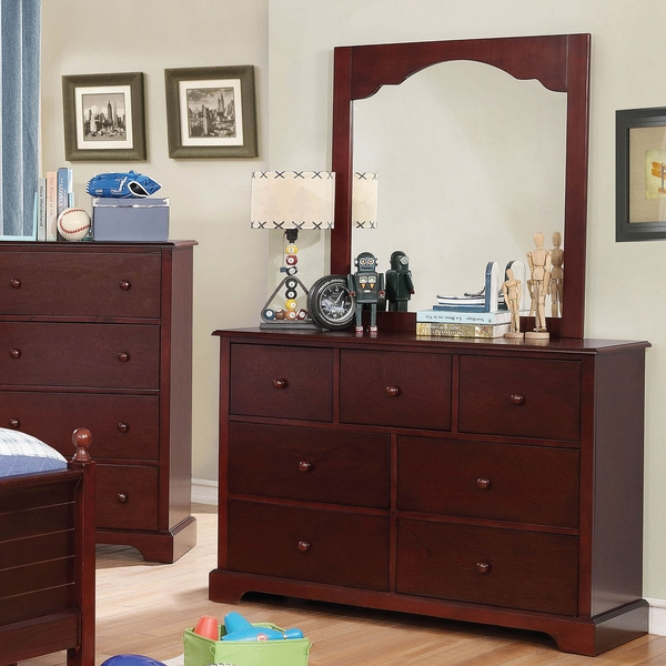 Diane Cherry Wood Frame Mirror by Furniture of America