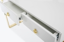 Audrey White Wood Lacquer Desk with Gold Metal Legs by TOV Furniture