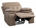 Millington Brown Faux Leather Power Recliner by Homelegance