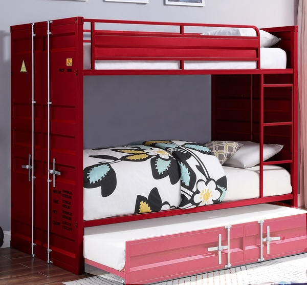 Cargo Red Finish Metal Twin over Twin Bunk Bed by Acme