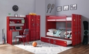 Cargo Red Finish Metal Full over Full Bunk Bed w/Trundle by Acme