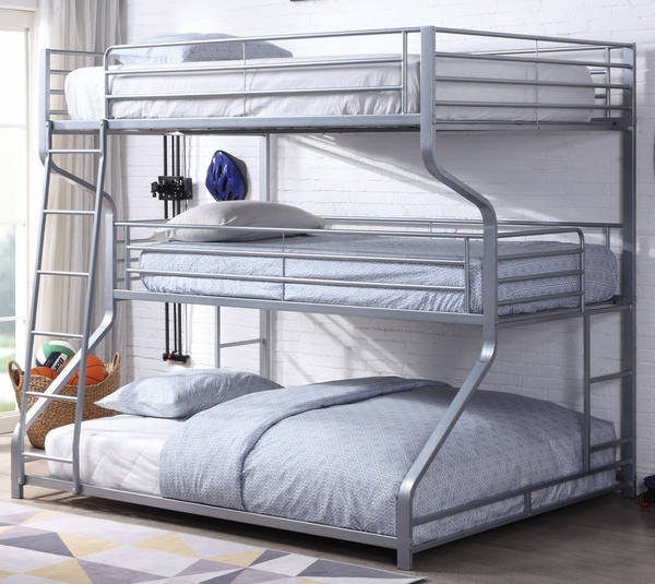 Caius II Silver Metal Triple Twin/Full/Queen Bunk Bed by Acme