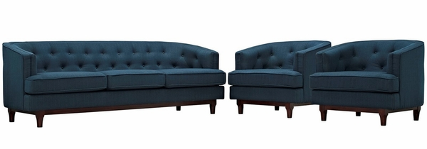 Coast 3-Pc Azure Fabric Button Tufted Sofa Set by Modway