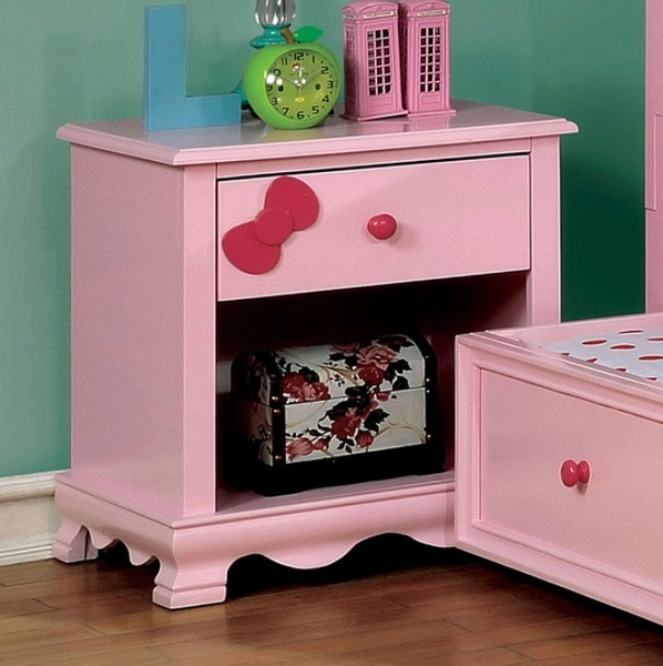 Dani Pink Solid Wood Nightstand by Furniture of America