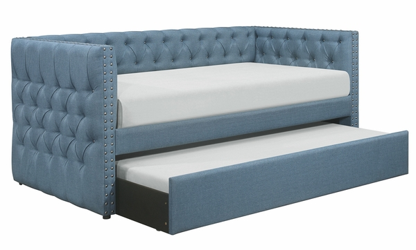 Adalie Blue Fabric Tufted Twin Daybed with Trundle by Homelegance