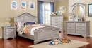 Claudia Silver Gray Solid Wood Nightstand by Furniture of America