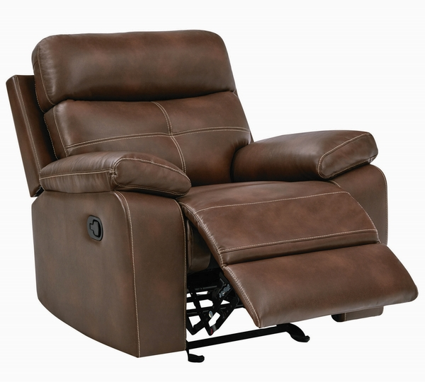 Damiano 3-Pc Brown Leatherette Manual Recliner Sofa Set by Coaster