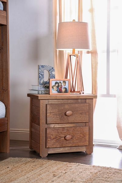 Lea Mahogany Solid Pine Wood Nightstand by Furniture of America