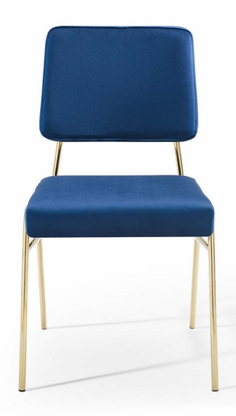 Craft Navy Velvet/Gold Metal Side Chair by Modway