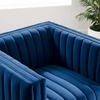 Conjure Navy Performance Velvet Channel Tufted Accent Chair by Modway