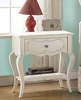 Edalene 1-Drawer Pearl White Wood Nightstand by Acme