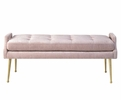 Arabelle 3-Pc Grey Velvet Twin Bed Set with Pink Bench by TOV Furniture