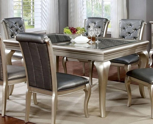Amina Champagne Wood Dining Table by Furniture of America