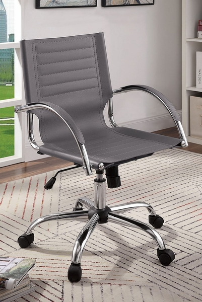 Canico Gray Leatherette/Chrome Office Chair by Furniture of America