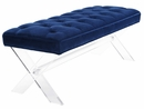 Claira Navy Velvet Bench with Lucite Legs by TOV Furniture