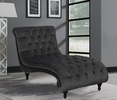Scarlett Charcoal Velvet Button Tufted Chaise by Coaster