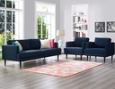Agile 3-Pc Blue Upholstered Fabric Sofa Set by Modway