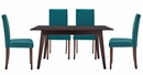 Prosper 5-Pc Teal Fabric/Cappuccino Wood Dining Table Set by Modway