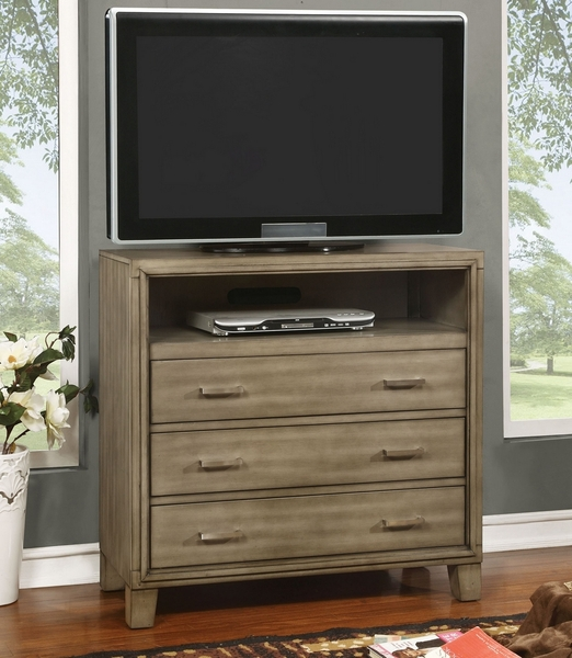 Enrico I Gray Wood Media Chest by Furniture of America