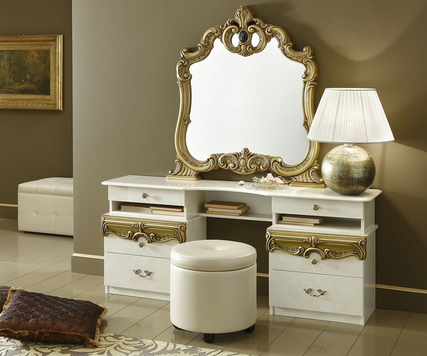 Barocco Ivory & Gold Wood Pouf by ESF