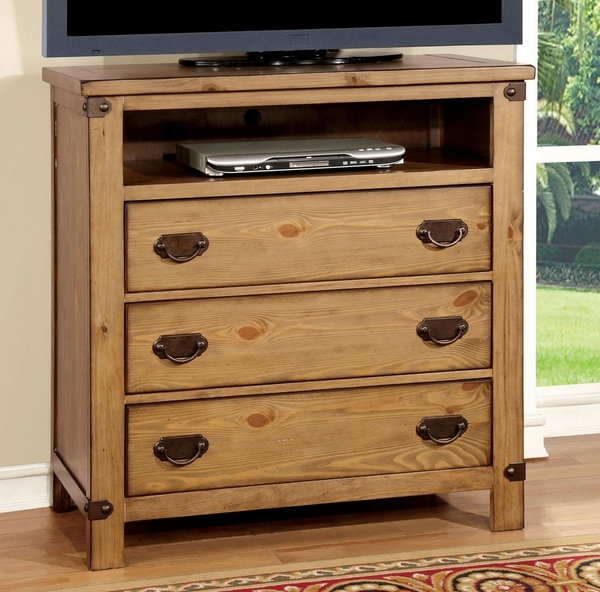 Pioneer Weathered Elm Finish Wood Media Chest by Furniture of America