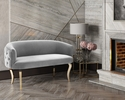 Adina Grey Velvet Loveseat with Gold Metal Legs by TOV Furniture