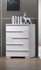 Athen White Lacquer Wood 5-Drawer Chest by Best Master Furniture