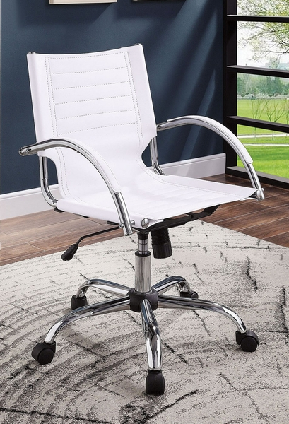 Canico White Leatherette/Chrome Office Chair by Furniture of America
