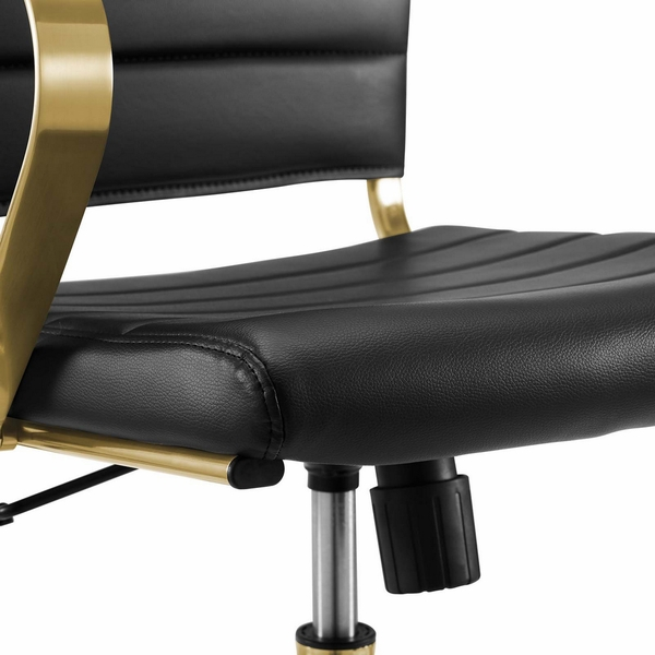Jive Black Faux Leather/Gold Metal Midback Office Chair by Modway