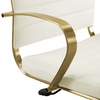 Jive White Faux Leather/Gold Metal Midback Office Chair by Modway