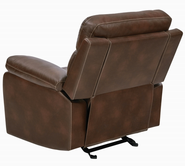 Damiano Brown Leatherette Manual Glider Recliner by Coaster