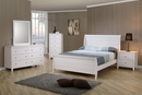 Selena 5-Pc White Wood Twin Sleigh Platform Bed Set by Coaster