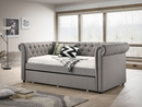 Ellie Dove Fabric Twin Daybed with Trundle by Crown Mark