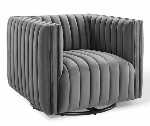 Conjure Gray Performance Velvet Swivel Accent Chair by Modway