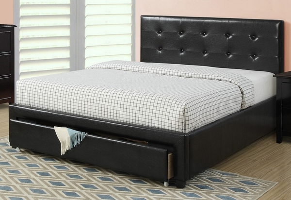 Carla 5-Pc Black Faux Leather/Wood Full Storage Bed Set by Poundex