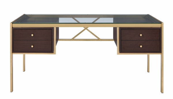 Yumia Gold Finish Metal/Clear Glass Desk with 4 Drawers by Acme