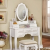 Harriet White Wood Vanity with Stool by Furniture of America