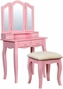 Janelle Pink Wood Vanity with Stool by Furniture of America