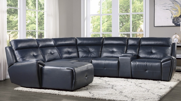 Avenue 6-Pc Navy LAF Modular Manual Recliner Sectional by Homelegance