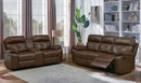 Damiano 2-Pc Brown Leatherette Manual Recliner Sofa Set by Coaster