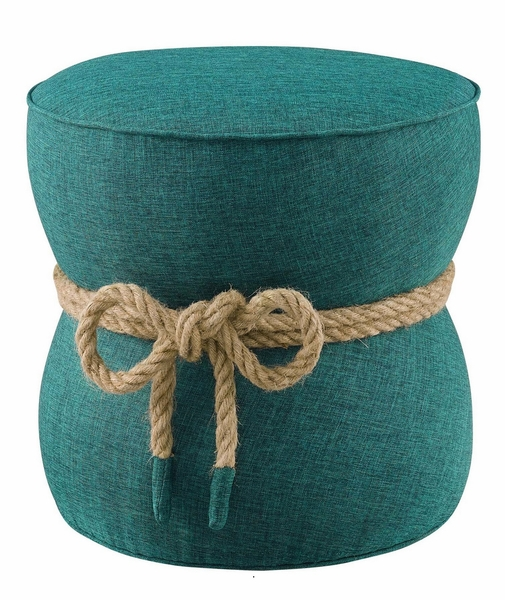 Beat Nautical Rope Teal Upholstered Fabric Ottoman by Modway