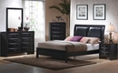 Briana 5-Pc Black Wood/Leatherette King Panel Bed Set by Coaster