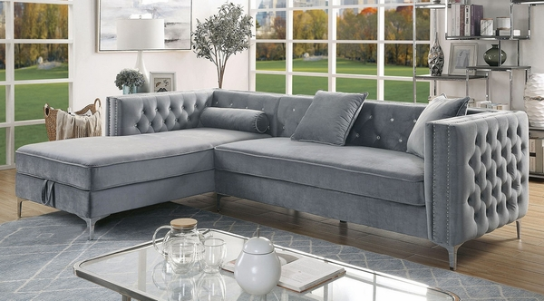 Amie 2-Pc Gray Flannelette LAF Sectional Sofa by Furniture of America