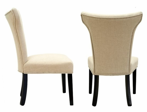 Cleo 2 Beige Linen Fabric Side Chairs by Best Master Furniture