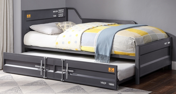 Cargo Gunmetal Finish Metal Twin Daybed w/Trundle by Acme