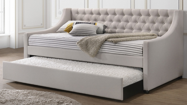 Lianna Fog Fabric Button Tufted Twin Daybed w/Trundle by Acme