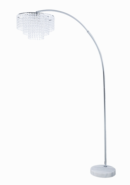 Zaria Crystal/Chrome Finish Metal/White Marble Floor Lamp by Coaster
