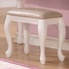 Caroline White Wood Vanity Stool with Faux Leather Seat by Coaster
